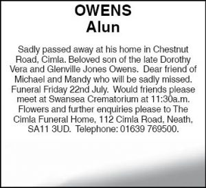 Alun Owens Revised EveNING pOST nOTICE