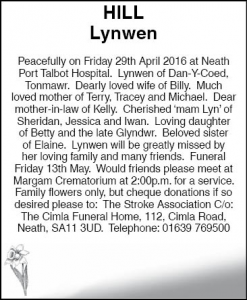 Lynwen Hill Evening Post