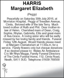 Mrs Margaret Elizabeth Harris